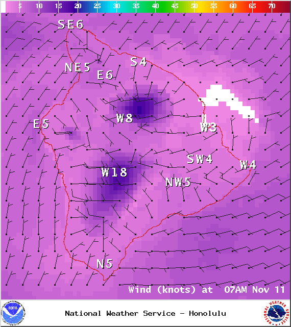 Expected winds at 7am - Image: NOAA / NWS