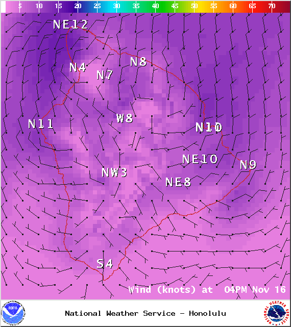 Winds at 4pm - Image: NOAA / NWS