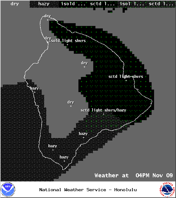 Expected weather conditions at 4pm - Image: NOAA / NWS
