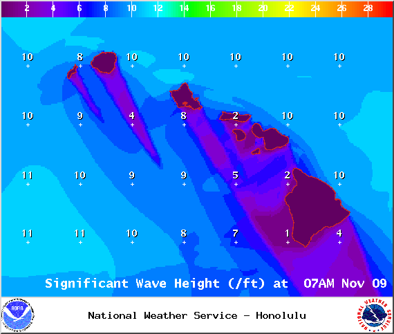 Expected swell height at 7am - Image: NOAA / NWS