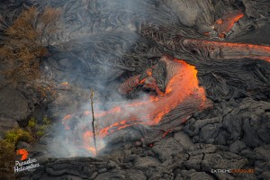 Overflight view of the June 27 lava flow on Dec. 22. Photo credit: Extreme Exposure/ Paradise Helicopters.