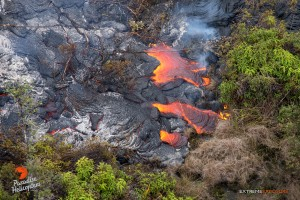 Overflight view of the June 27 lava flow on Dec. 29. Photo credit: Extreme Exposure/ Paradise Helicopters.