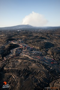 Overflight view of the June 27 lava flow taken on Dec. 26. Photo credit: Extreme Exposure/ Paradise Helicopters.