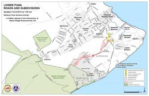 Hawai'i County Civil Defense Lava Flow Map as of  Monday, Dec. 22 at 7:00 a.m. Civil Defense image.