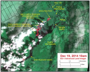 Satellite image shows distribution of active breakouts on June 27th lava flow as of Dec. 21. HVO photo.