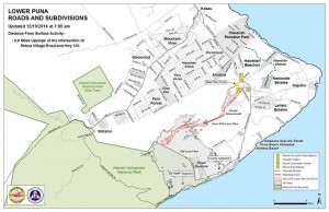 Hawai'i County Civil Defense Lava Flow Map as of Friday, 12/19/14 at 7:00 a.m. Civil Defense image.