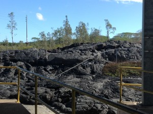 The public will have access beginning Wednesday, Dec. 17 to the Pahoa Transfer Station viewing area, where views of the recent June 27 lava flow, like pictured, can be seen. Photo credit: Jamilia Epping