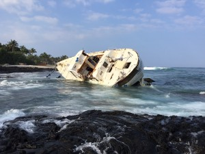 Removal and salvage of the sailing vessel Hawai'i Aloha that grounded Jan. 3 was conducted last week. DLNR photo.