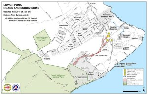 Hawai'i County Civil Defense lava flow map, as of Jan. 22 at 7 a.m. Civil Defense photo.