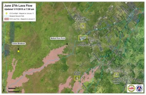Hawai'i County Civil Defense lava flow map, as of Jan. 11 at 7 a.m. Civil Defense photo.