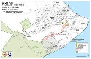 Hawai'i County Civil Defense lava flow map, as of Jan. 12 at 7 a.m. Civil Defense photo.