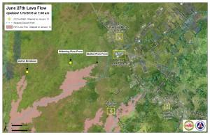 Hawai'i County Civil Defense lava flow map, as of Jan. 13 at 7 a.m. Civil Defense photo.