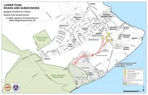 Hawai'i County Civil Defense lava flow map, as of Jan. 14 at 7 a.m. Civil Defense photo.