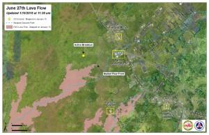 Hawai'i County Civil Defense lava flow map, as of Jan. 15 at 11:30 a.m. Civil Defense photo.