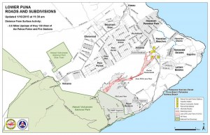 Hawai'i County Civil Defense lava flow map, as of Jan. 16 at 11:30 a.m. Civil Defense photo.