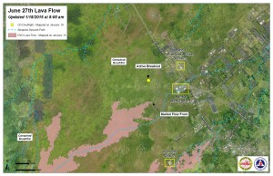 Hawai'i County Civil Defense lava flow map, as of Jan. 18 at 8 a.m. Civil Defense photo.