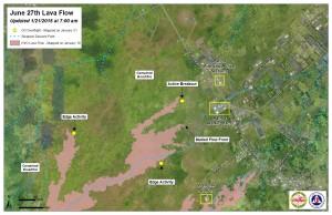 Hawai'i County Civil Defense lava flow map, as of Jan. 21 at 7 a.m. Civil Defense photo.