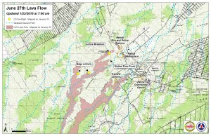 Hawai'i County Civil Defense lava flow map, as of Jan. 23 at 7 a.m. Civil Defense photo.