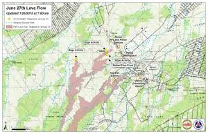 Hawai'i County Civil Defense lava flow map, as of Jan. 25 at 7 a.m. Civil Defense photo.