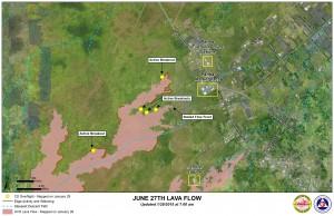 Hawai'i County Civil Defense lava flow map, as of Jan. 29 at 7 a.m. Civil Defense photo.
