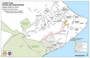 Hawai'i County Civil Defense lava flow map, as of Jan. 30 at 7 a.m. Civil Defense photo.