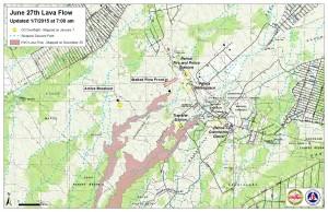 Civil Defense lava flow map, as of Jan. 7 at 7 a.m. Civil Defense image.