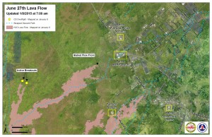 Hawai'i County Civil Defense lava flow map, as of Jan. 8 at 7 a.m. Civil Defense image.