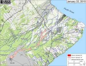 This small-scale map shows Kīlauea's active East Rift Zone lava flow in relation to lower Puna. The area of the flow on January 19 is shown in pink, while widening and advancement of the flow as of January 22 is shown in red. The blue lines show steepest-descent paths calculated from a 1983 digital elevation mode. HVO image.