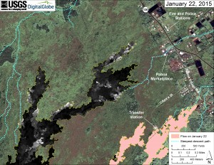 This map overlays a georegistered mosaic of thermal images collected during a helicopter overflight of the distal part of Kīlauea's active East Rift Zone lava flow on January 22 at about 9:15 AM. The base image is a satellite image acquired in March 2014. The perimeter of the flow at that time is outlined in yellow. Temperature in the thermal image is displayed as gray-scale values, with the brightest pixels indicating the hottest areas (white shows active breakouts). The blue lines show steepest-descent paths calculated from a 1983 digital elevation mode. HVO image.