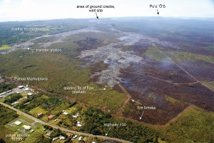 The leading tip of the June 27 lava flow seen in this photo taken on Jan. 29, has not advanced significantly over the past week, and remains roughly 500 meters (550 yards) upslope of Highway 130, west of the fire and police station. HVO photo.