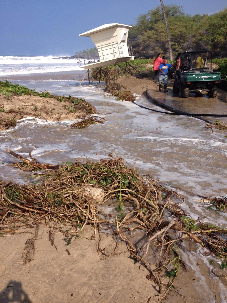 This photo shows damage to the Hapuna Beach State Park's north lifeguard tower. DNLR State Parks photo.