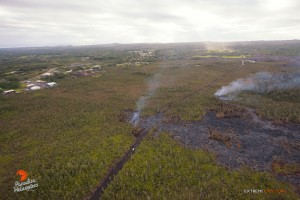 Overflight view of the June 27 lava flow taken on Dec. 31. Photo credit: Extreme Exposure/ Paradise Helicopters.