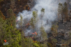 Overflight view of the June 27 lava flow taken on Jan. 7. Photo credit: Extreme Exposure/ Paradise Helicopters.