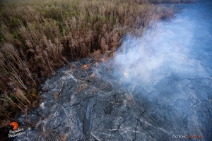 This photo taken on Jan. 14 shows activity that continues near the old geothermal pad a few miles upslope of Pahoa of Wednesday. Photo: Extreme Exposure/Paradise Helicopters.