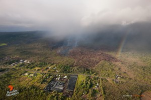 This photo shows the June 27 lava flow's proxmity to Highway 130 from a different perspective. Photo credit: Extreme Media Exposure/Paradise Helicopters.