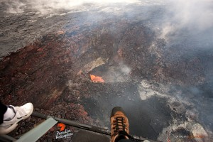 In this photo taken on Jan. 28 you can see some slight action in Pu'u 'O'o as a little lava pond is visible against the southeastern wall of the crater. Photo credit: Extreme Exposure Media/Paradise Helicopters.