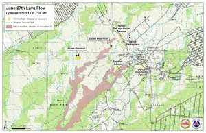 Civil Defense lava flow map, as of Jan. 5 at 7 a.m. Civil Defense image.