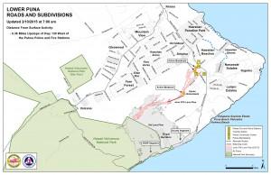 Hawai'i County Civil Defense lava flow map, as of Feb. 11 at 7 a.m. Civil Defense image.