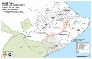 Hawai'i County Civil Defense lava flow map, as of Feb. 12 at 7 a.m. Civil Defense image.