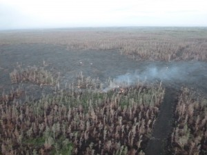 This image taken Feb. 13 during Hawai'i County Civil Defense's morning overflight shows surface activity and burning along the edges near fire break. Civil Defense photo.