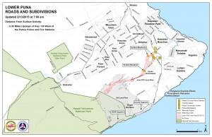 Hawai'i County Civil Defense lava flow map, as of Feb. 13 at 7 a.m. Civil Defense image.
