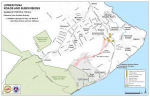 Hawai'i County Civil Defense lava flow map, as of Feb. 17 at 7 a.m. Civil Defense image.