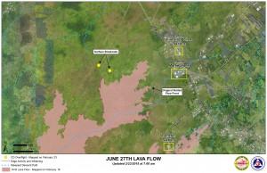 Hawai'i County Civil Defense lava flow map, as of Feb. 23 at 7 a.m. Civil Defense image.