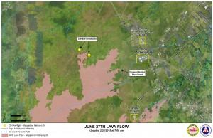 Hawai'i County Civil Defense lava flow map, as of Feb. 24 at 7 a.m. Civil Defense image.