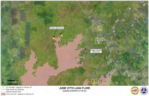 Hawai'i County Civil Defense lava flow map, as of Feb. 25 at 7 a.m. Civil Defense image.