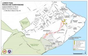 Hawai'i County Civil Defense lava flow map, as of Feb. 26 at 7 a.m. Civil Defense image.