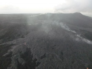 This photo, Feb. 27 at 7 a.m., shows the upslope breakout near the vent. Hawai'i County Civil Defense.