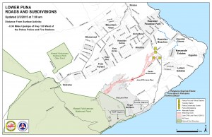 Hawai'i County Civil Defense lava flow map, as of Feb. 3 at 7 a.m. Civil Defense photo.