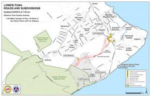 Hawai'i County Civil Defense lava flow map, as of Feb. 9 at 7 a.m. Civil Defense image.