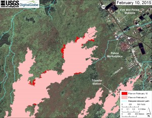 This large-scale map uses a satellite image acquired in March 2014 (provided by Digital Globe) as a base to show the area around the front of Kīlauea's active East Rift Zone lava flow. The area of the flow on February 5 is shown in pink, while widening and advancement of the flow as of February 10 is shown in red. The blue lines show steepest-descent paths calculated from a 1983 digital elevation model. USGS HVO map.